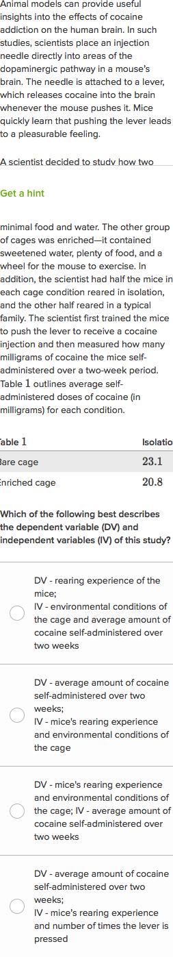 Cocaine addiction in mice (practice) | Khan Academy