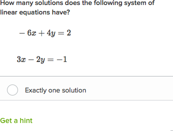 Number of solutions to a system of equations algebraically
