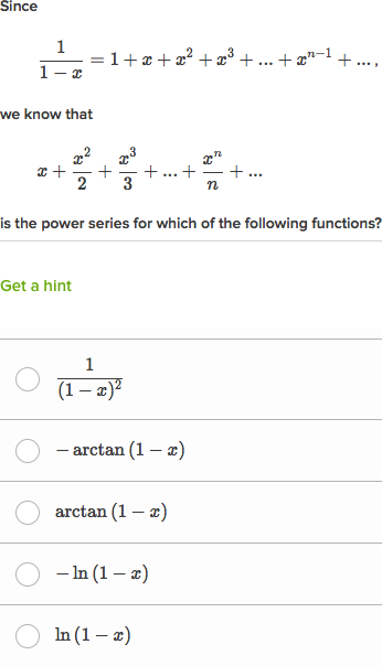 Integrals & derivatives of functions with known power series