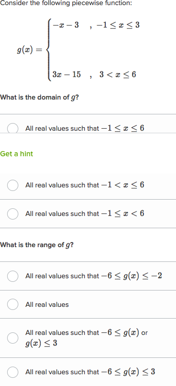 Domain Range Of Piecewise Functions Practice Khan Academy