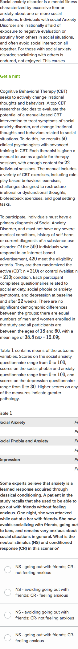 an analysis of the social anxiety disorder and its treatment using classical conditioning 1 social anxiety disorder in children and adolescents: assessment, maintaining factors, and treatment rio cederlund.