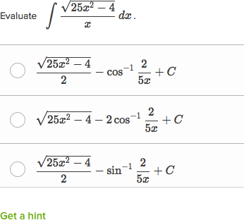 Trigonometric Substitution Practice Khan Academy