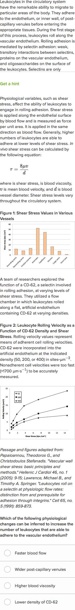 Leukocytes Roll On Blood Vessel Walls Practice Khan Academy