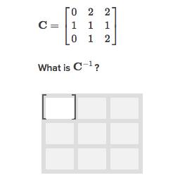 Inverse of a 3x3 matrix (practice) | Khan Academy