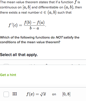Using The Mean Value Theorem Practice Khan Academy