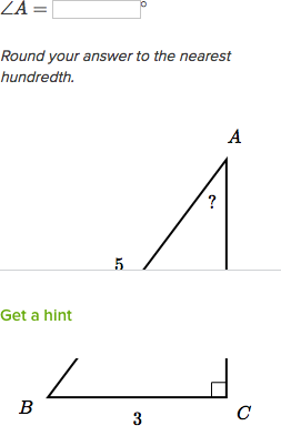 Solve for an angle in right triangles (practice) | Khan Academy