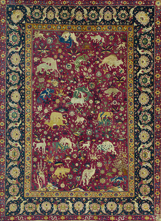 Carpet (Safavid), 16th century, Iran, probably Kashan (depicts animals, some invented and of Chinese origin), silk, 94-7/8 x 70 inches (Metropolitan Museum of Art)