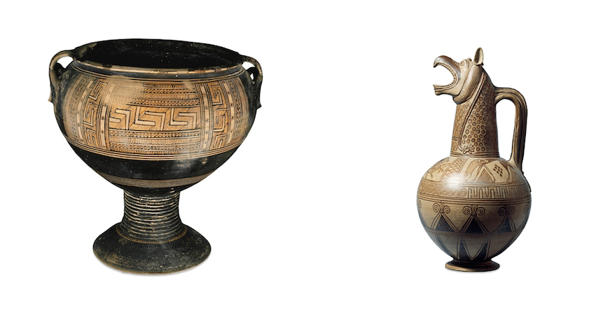 Right: Pedestaled krater, c. 800-770 B.C.E., 55.5 cm high, Greek, Geometric period, Rhodes. Left: Jug with a griffin-head spout, c. 675-650 B.C.E., 41.5 cm, Greek, both: © Trustees of the British Museum