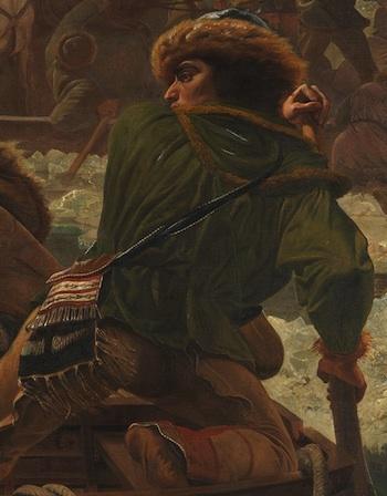 Native american at back of boat (detail), Emanuel Leutze, Washington Crossing the Delaware, 1851, oil on canvas, 378.5 x 647.7 cm (Metropolitan Museum of Art)