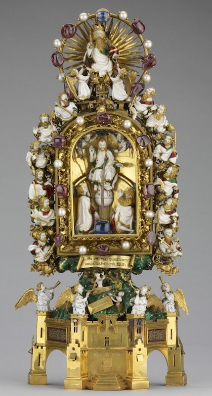 Holy Thorn Reliquary of Jean, duc de Berry, before 1397, gold, enamel, rock crystal, pearls, rubies, sapphires, . 30 x 14.2 x 6.8 cm, © Trustees of the British Museum.