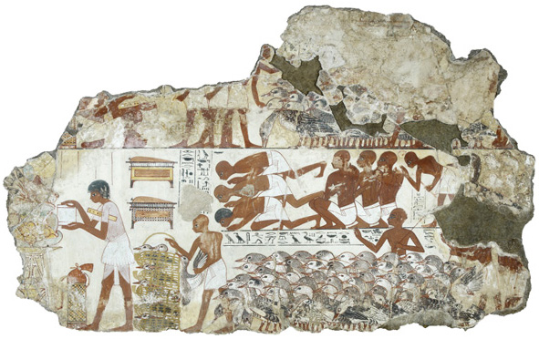 Nebamun's geese, Tomb-chapel of Nebamun, c. 1350 B.C.E., 18th Dynasty, paint on plaster, 71 x 115.5 cm, Thebes © Trustees of the British Museum