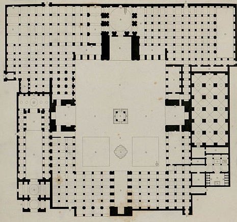 Plan of the mosque from Monuments modernes de la Perse mesurés, dessinés et décrits, éd. Morel, 1867