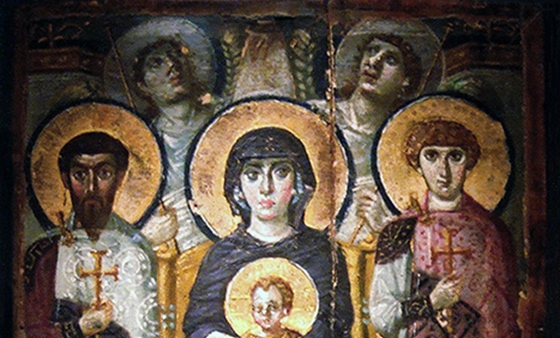 Virgin (Theotokos) and Child between Saints Theodore and George(detail)