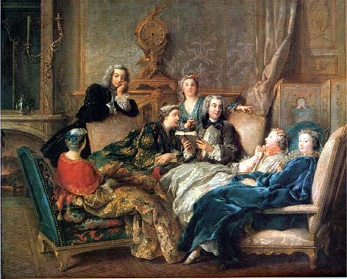 Jean François de Troy, The Reading from Molière, around 1728, oil on canvas, 72.4 x 90.8 cm (Collection late Marchioness of Cholmondeley, Houghton)