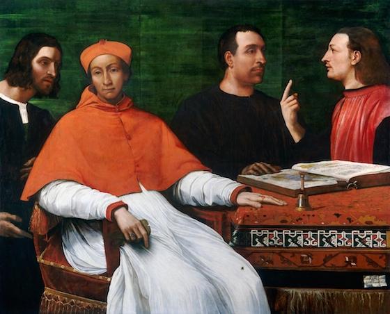 Sebastiano del Piombo, Cardinal Bandinello Sauli, His Secretary, and Two Geographers, 1516, oil on panel, 121.8 x 150.4 cm / 47 15/16 x 59 3/16 in. (National Gallery of Art, Washington D.C.)