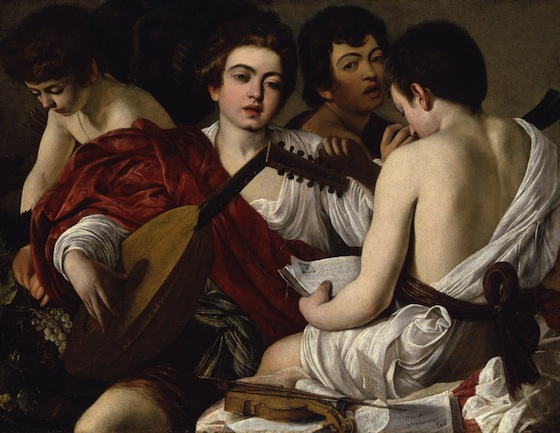 Caravaggio, Concert of Youths (or The Musicians), oil on canvas, c. 1595, 92.1 x 118.4 cm (New York, Metropolitan Museum of Art)