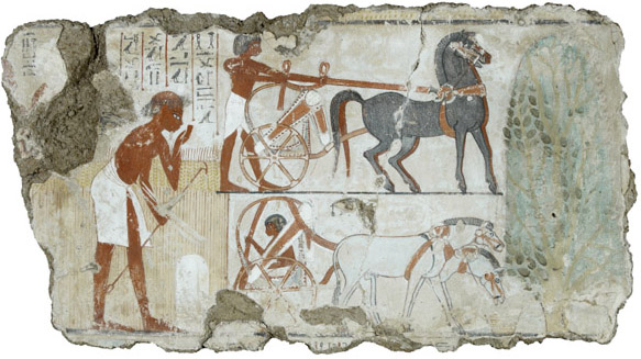 Surveying the fields for Nebamun, Tomb-chapel of Nebamun, c. 1350 B.C.E., 18th Dynasty, paint on plaster, 106.7 x 45.8 cm, Thebes, Egypt © Trustees of the British Museum