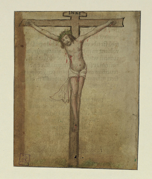 Single leaf and fragment with Crucifixion and colophon, Crucifixion, Walters Manuscript W.732, fol. W.732Ar (The Walters Art Museum)