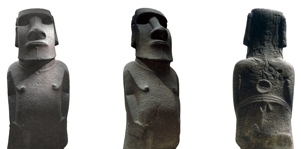 Hoa Hakananai'a ('lost or stolen friend'), Moai (ancestor figure), c. 1200 C.E., 242 x 96 x 47 cm, likely made in Rano Kao, Easter Island (Rapa Nui), found in the ceremonial center Orongo, basalt (missing paint, coral eye sockets, and stone eyes) © The Trustees of the British Museum