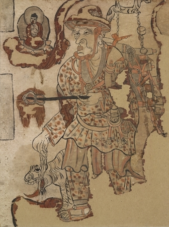 Traveling monk, ink and colors on paper, from Cave 17, Mogao, near Dunhuang, Gansu province, China, Five Dynasties or Northern Song Dynasty, 10th century, © Trustees of the British Museum. This painting shows a traveling monk, wearing a hat, holding a fan and accompanied by a tiger.