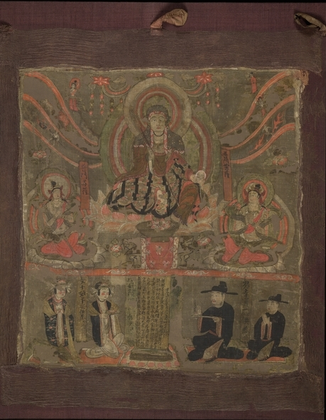 Kshitigarbha as Lord of the Six Ways, ink and colours on silk, from Cave 17, Mogao, near Dunhuang, Gansu province, China, Northern Song Dynasty, dated 4th year of Jianlong (963), © Trustees of the British Museum