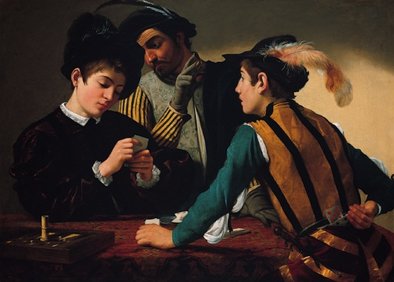 Caravaggio, The Cardsharps, c. 1595, oil on canvas, 94.2 x 130.9 cm (Kimbell Art Museum, Texas)