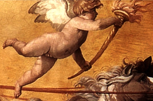 Torch-bearing putto (detail), Guido Reni, Aurora, 1613-14, ceiling fresco (Casino dell'Aurora, Rome)