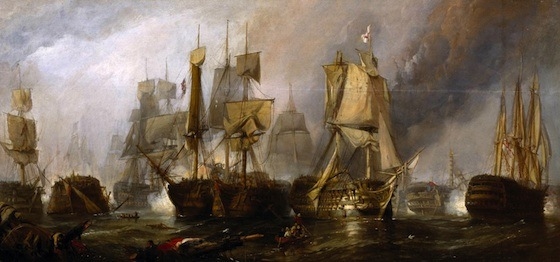 "Clarkson Frederick Stanfield, Sketch for ""The Battle of Trafalgar, and the Victory of Lord Nelson over the Combined French and Spanish Fleets,"" 1805 1833 (Tate, London). Stanfield may have depicted the Temeraire, illuminated in the foreground and flying the British flag."