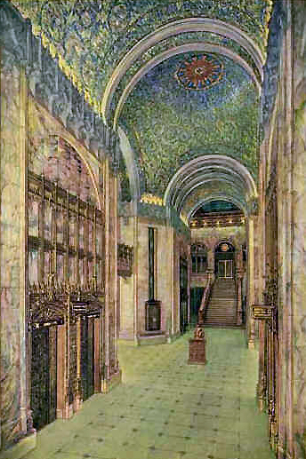 Woolworth building interior, postcard
