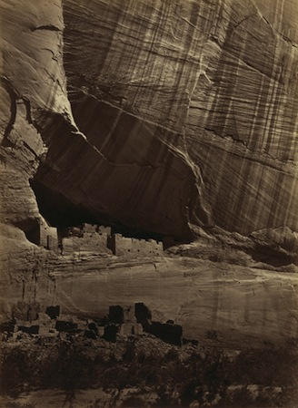 Timothy O'Sullivan, Ancient Ruins in the Cañon de Chelle, N.M. In a niche 50 feet above present cañon bed, 1873, photographic albumen print, 27.5 x 20.2 cm