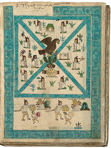 Frontispiece, Codex Mendoza, Viceroyalty of New Spain, c. 1541–1542 C.E., pigment on paper © Bodleian Libraries, University of Oxford