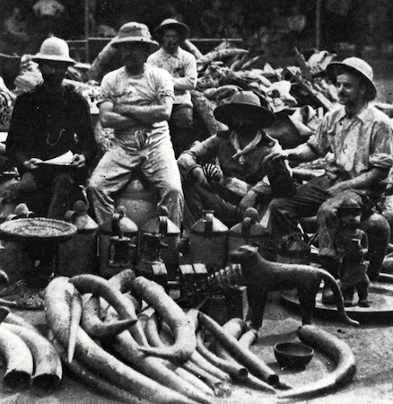 British soldiers sit surrounded by Benin works of art during the British Punitive Expedition of 1897 (documentary photograph). Rawson, Sir Harry Holdsworth, 1897.