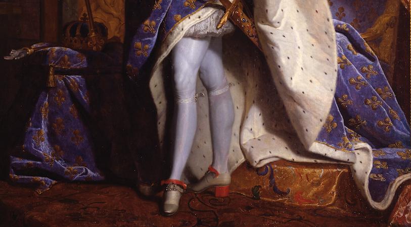"""The king's legs (detail), Hyacinthe Rigaud, Louis XIV, 1701, oil on canvas, 9'2"""" x 6'3"""" (Musée du Louvre, Paris)"""