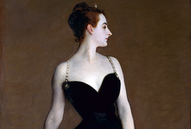 Detail of Madame X (Madame Pierre Gautreau), 1883-84, oil on canvas, 82-1/8 x 43-1/4 inches (The Metropolitan Museum of Art, New York)