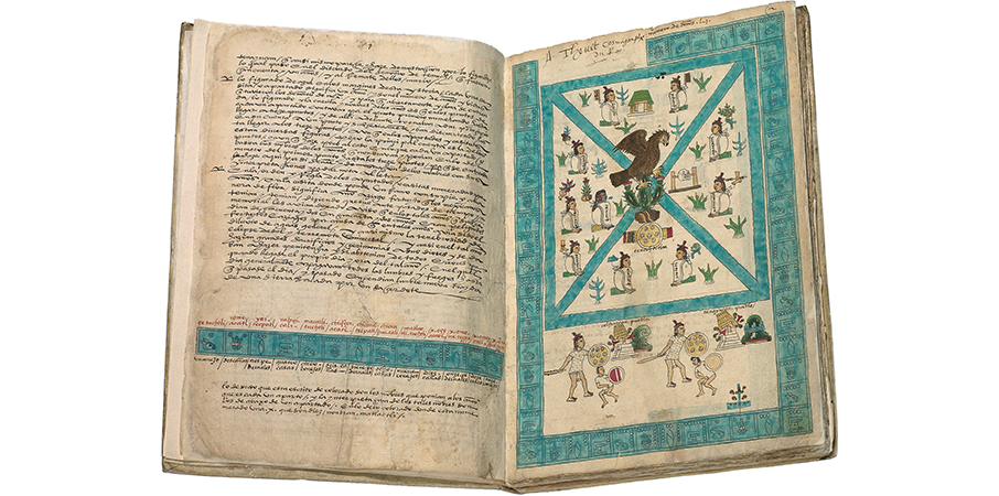MS. Arch. Selden. A. 1, fols. 1v–2r, Codex Mendoza, Viceroyalty of New Spain, c. 1541–1542 C.E., pigment on paper © Bodleian Libraries, University of Oxford