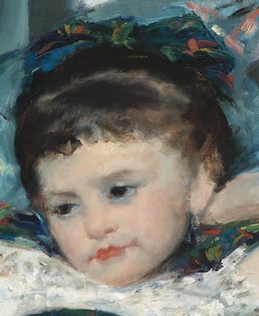 Girl (detail), Mary Cassatt, Little Girl in a Blue Armchair, 1878, oil on canvas, 89.5 x 129.8 cm (National Gallery of Art, Washington D.C.)
