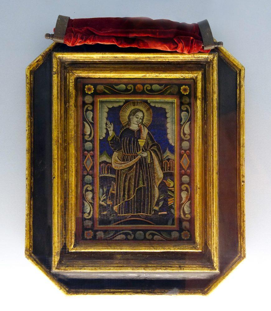 San Juan Evangelista, siglo XVI, trabajo con plumas (Museo Nacional de Arte, Ciudad de México)