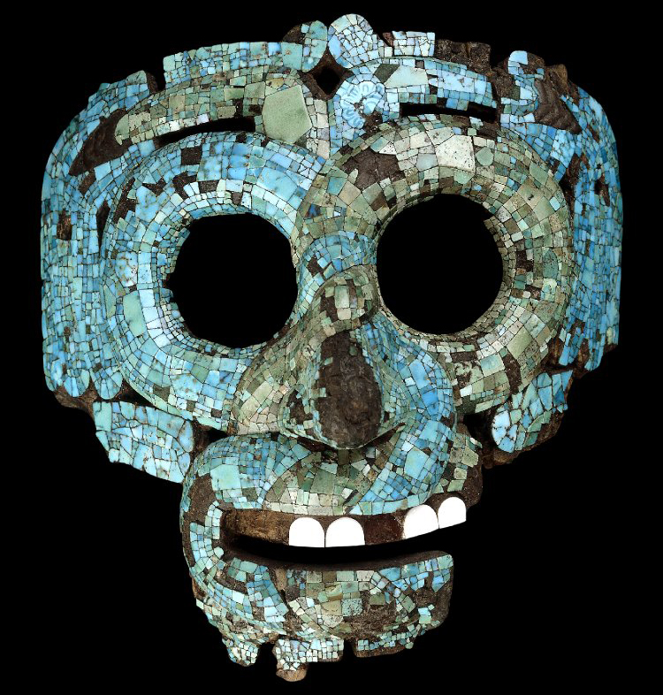 Mosaic serpent mask of Quetzalcoatl/Tlaloc, 15th-16th century C.E., Mexica/Mixtec, cedrela wood, turquoise, pine resin, gold, conch shell, beeswax, 18.2 x 16.5 x 12.5 cm