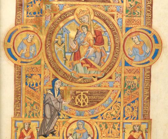 Uta Codex (Uta Presents the Codex to Mary), c. 1020, Munich, Bayerische Staatsbibliothek, Clm. 13601, folio 2, recto