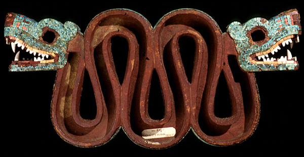 Mosaic of a double-headed serpent (detail), c. 15th-16th century, cedrela wood, turquoise, pine resin, oyster shell, hematite, and copal, 20.5 x 43.3 x 6.5 cm © The Trustees of the British Museum
