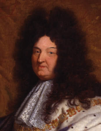 """Face (detail), Hyacinthe Rigaud, Louis XIV, 1701. Oil on canvas, 9'2"""" x 6'3"""". Musée du Louvre, Paris"""