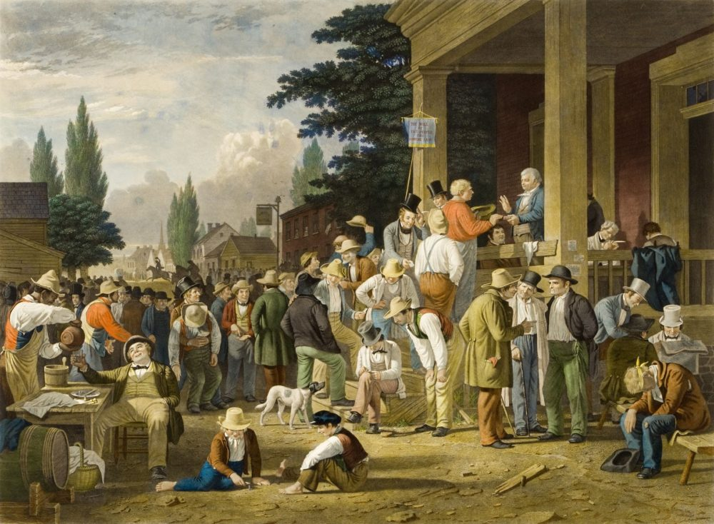 Painting showing a large crowd at a county election.