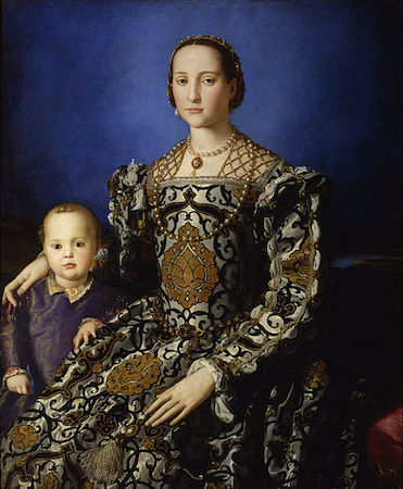 Bronzino, Portrait of Eleonora di Toledo with her son Giovanni, 1544-1545, oil on panel, 115.00 x 96.00 cm (Galleria degli Uffizi)