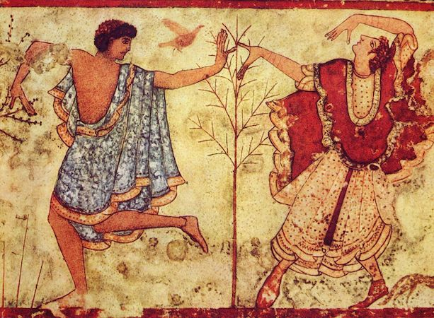 Detail of two dancers on the right wall of the Tomb of the Triclinium