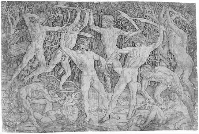 Antonio Pollaiuolo, Battle of Ten Nudes (or Battle of Nude Men). c. 1465, engraving, 15 1/8 x 23 3/16 inches / 38.4 x 58.9 cm (The Metropolitan Museum of Art)