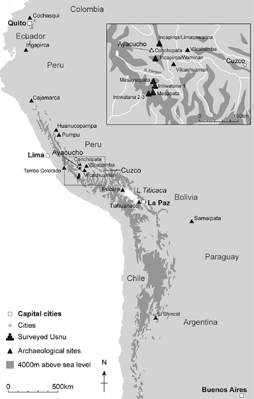 Map showing Inca ushnu sites © Trustees of the British Museum