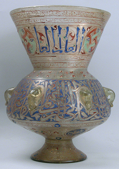 Mosque lamp, 14th century, Egypt or Syria, blown glass, enamel, gilding, 31.8 x 23.2 cm (Metropolitan Museum of Art)