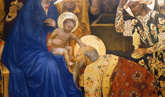 Gentile da Fabriano, Adoration of the Magi (detail with Jesus and Melchior), 1423, tempera on panel, 283 x 300 cm (Uffizi Gallery, Florence, photo: Steven Zucker, CC BY-NC-SA 4.0)