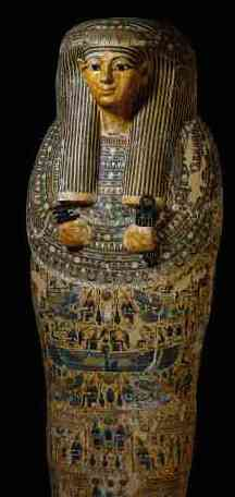 Coffin of Bakenmut, c. 1077-943 B.C.E., wood and paint on plaster, Third Intermediate Period, 208.4 cm, Thebes, Egypt © Trustees of the British Museum