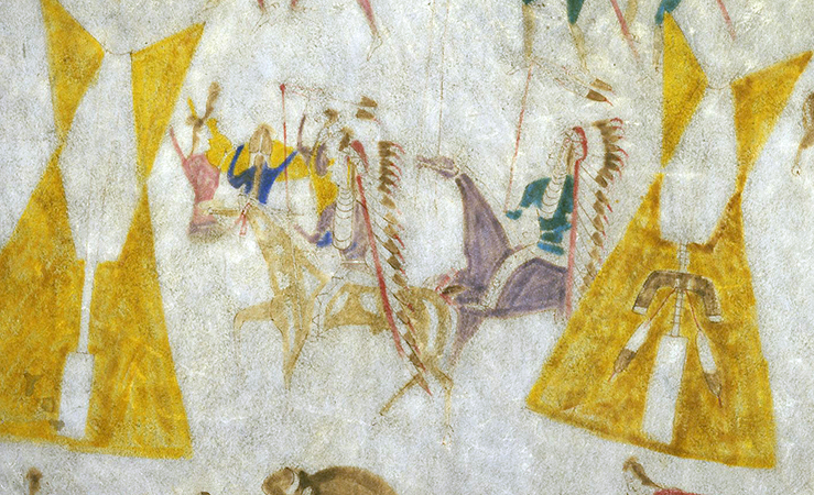 Attributed to Cotsiogo, Warriors returning to camp (detail), Hide painting of the Sun Dance, c. 1890–1900, Eastern Shoshone, elk hide and pigment, approximately 81 x 78 inches (Brooklyn Museum)